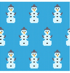 Knitted christmas snowman pattern vector