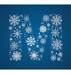 Letter M font frosty snowflakes vector