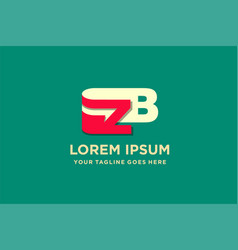 Logotype combination letter z and b with arrow vector