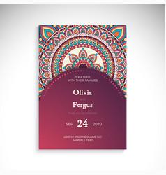 Luxury wedding invitation with mandala vector
