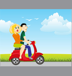 Man with woman on motorcycle vector