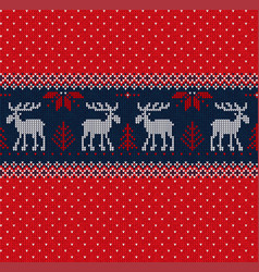merry christmas new year seamless pattern border vector image