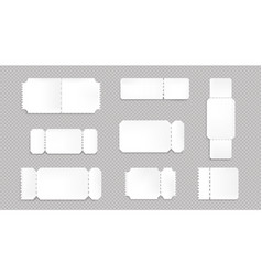 Mockup blank tickets to movie theater concert vector