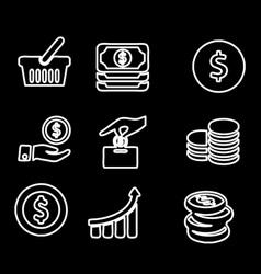 Money income line icon set pension fund profit vector