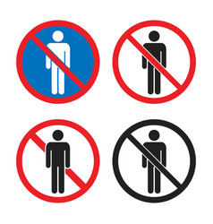 No entry icon set people sign with man vector