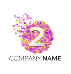 Number two logo red particles and bubble dots vector