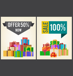 Offers 50 new sale 100 promo labels banners boxes vector
