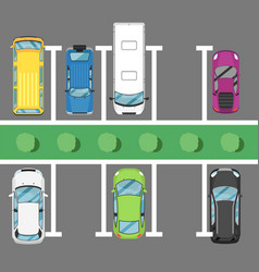 parking lot poster with top view cars vector image