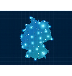 pixel Germany map with spot lights vector image