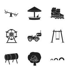 Play garden set icons in black style Big vector