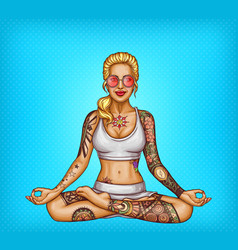 Pop art tattooed girl doing yoga vector