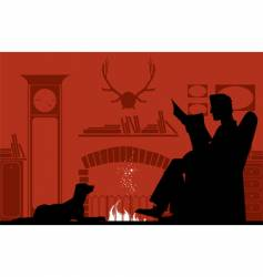 Reading by fireplace vector
