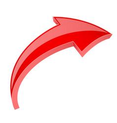 Red 3d shiny arrow next sign vector