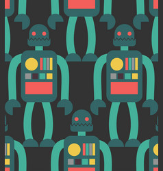 robot seamless pattern retro toy background vector image