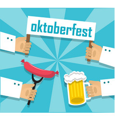Sausages beer and oktoberfest vector