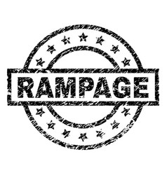 Scratched textured rampage stamp seal vector