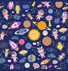 Seamless pattern cute space background for baby vector