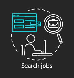 search job concept chalk icon work finding idea vector image