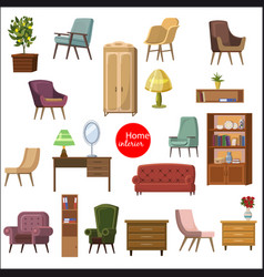 set accessories and furniture armchairs of vector image