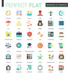 set flat banking finance icons vector image