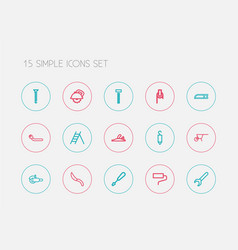 Set of 15 editable instrument icons line style vector