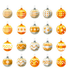set of christmas balls yellow gold colour vector image