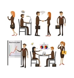 Set of office people characters isolated vector