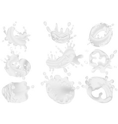 set of realistic milk splashes isolated against a vector image
