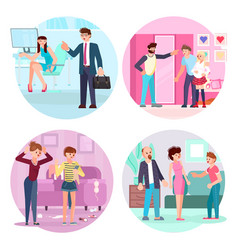 Set teens and parents in different situations vector
