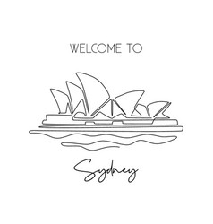single one line drawing opera house iconic multi vector image