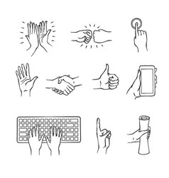 Sketch hands gesturing set vector