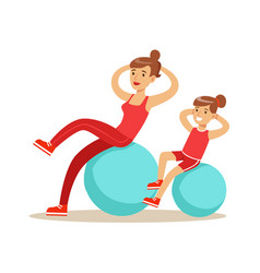smiling woman and girl happily exercising with vector image
