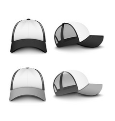 Snapback baseball cap mockup set from front and vector