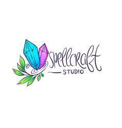 spellraft boho chic hand drawn logo labe vector image