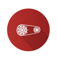 sprocket wheel with chain flat design long shadow vector image