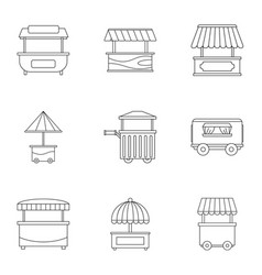 Street food truck icon set outline style vector