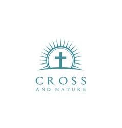 Summer sun camp christian jesus cross church logo vector
