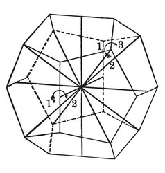 Symmetry of pyritohedral class vintage vector
