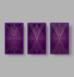 Tarot cards back set with geometric pattern vector