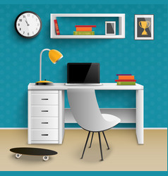 Teenager workplace interior realistic vector ...