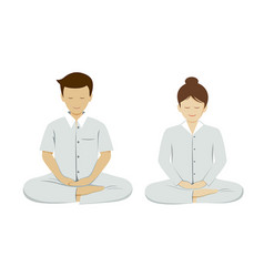 Thai people meditation collections isolated vector