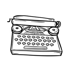 typewriter in doodle style vector image