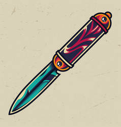 vintage colorful elegant pocket knife vector image