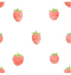 Watercolor strawberry pattern vector