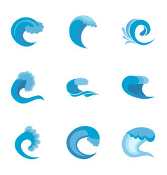 Waveform icons set flat style vector