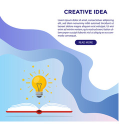 web design light bulb over book as a symbol vector image