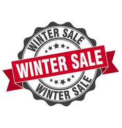 Winter sale stamp sign seal vector