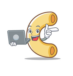 With laptop macaroni character cartoon style vector