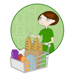 Woman cartoon with a basket in a supermarket vector