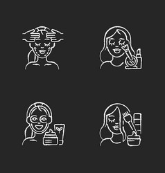 Women beauty procedures chalk white icons set on vector